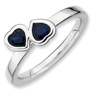 Sterling Silver Stacking Birthstone Heart Sapphire Band Ring