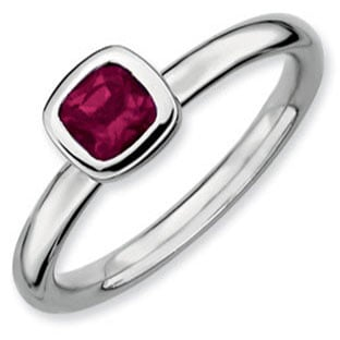 Sterling Silver Stackable Cushion Cut Solitaire Rhodolite