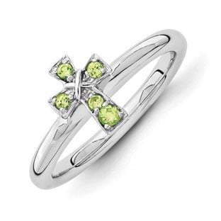 Sterling Silver Peridot Birthstone Stackable Cross Ring Band