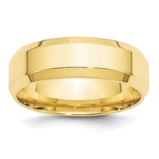7MM Beveled Edge Comfort Fit Wedding Band In 10K Yellow Gold