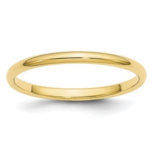 2MM Half Round Plain Wedding Band In 10K Yellow Gold
