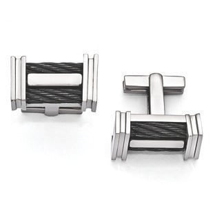 Men's Titanium Black Memory Cable Link Cuff Links Jewelry