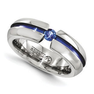 anodized titanium blue sapphire 6mm polished finish ring jewelry 22000 - Mens Sapphire Wedding Rings