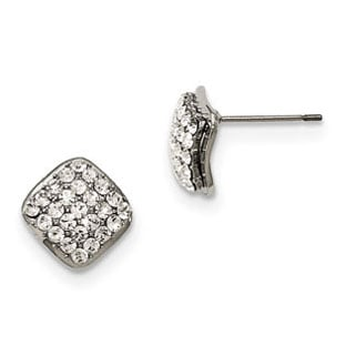 Women's Diamond Shaped Stainless Steel CZ Post Stud Earrings Jewelry