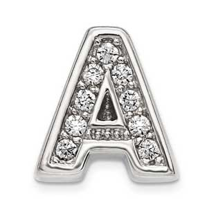 Personalized Letter A Slide Initial CZ Charm In Sterling Silver