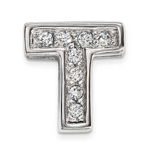 Personalized Letter T Slide Initial CZ Charm In Sterling Silver