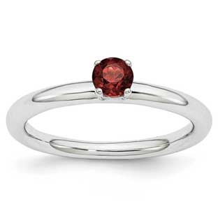 Petite Round Solitaire Garnet January Birthstone Stackable Ring In Silver