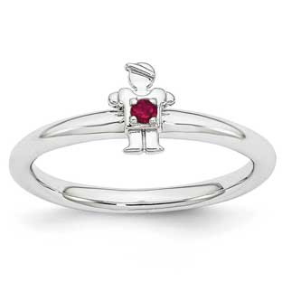 Ruby July Birthstone Stackable Boy Family Ring For Mothers In Silver