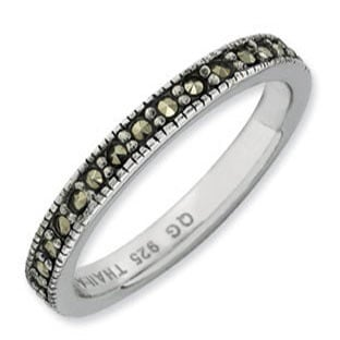 Sterling Silver Marcasite Stackable Band Ring