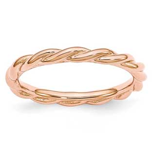 Twist Style Stackable Ring In Rose Gold Over Sterling Silver