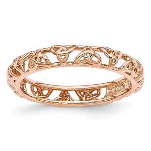 Celtic Knot Symbol Stackable Ring In Rose Gold Over Sterling Silver