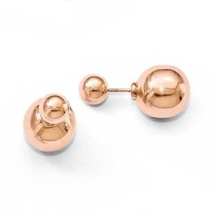 Reversible 14MM and 8MM Ball Stud Earrings In Rose Gold Plated Sterling Silver