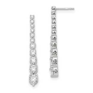Graduated Cz Dangle Earrings In Sterling Silver