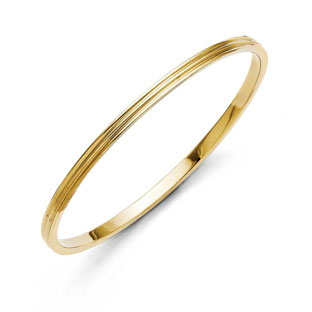 Women's Yellow Gold Plated Stainless Steel Bangle Bracelet Jewelry