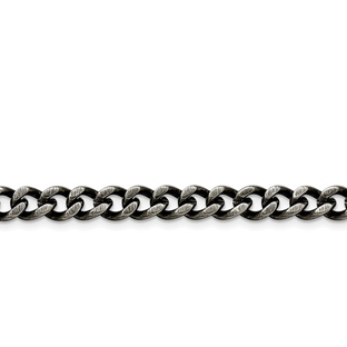 Men's Heavy Curb Link Antiqued Stainless Steel 7.5MM Chain Necklace Jewelry
