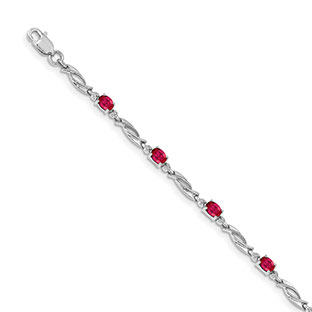14K White Gold Ruby Gemstone Diamond Accent Bracelet