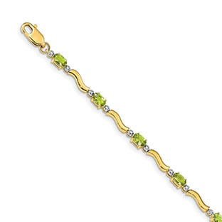 Peridot Gemstone Diamond Swirl Bracelet In 14K Gold