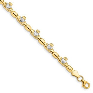 Women's Claddagh Bracelet In 14K Yellow Gold