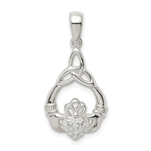 Women's Claddagh Trinity Knot CZ Pendant In Sterling Silver