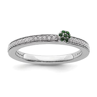 Diamond and Emerald Stacking Cluster Ring In 14K White Gold