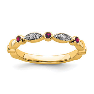 Ruby and Diamond Stackable Ring In 14K Yellow Gold