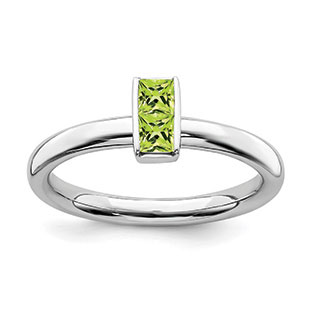 Peridot Birthstone Stackable Ring Band In Sterling Silver