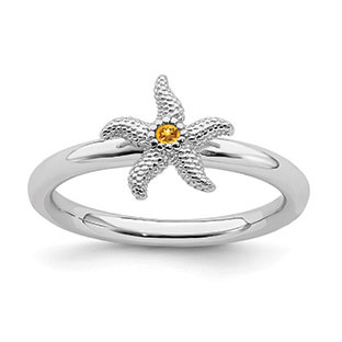 Citrine Birthstone Starfish Stack Ring Band In Sterling Silver