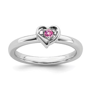 Pink Sapphire Gemstone Heart Stackable Ring Band In Sterling Silver