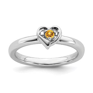 Citrine Gemstone Heart Stackable Ring Band In Sterling Silver