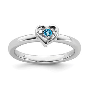 Blue Topaz Gemstone Heart Stackable Ring Band In Sterling Silver