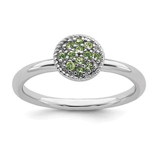 Peridot Birthstone Cluster Stack Ring Band In Sterling Silver