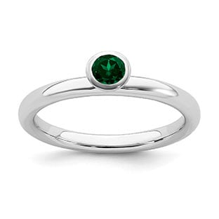 Emerald Birthstone Solitaire Stackable Ring Band In Sterling Silver