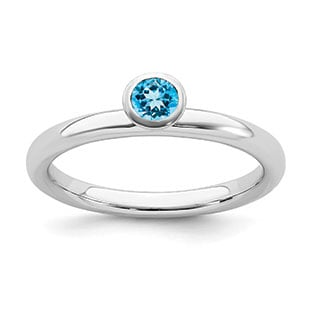 Blue Topaz Birthstone Solitaire Stackable Ring Band In Sterling Silver