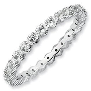 Sterling Silver Eternity White Topaz Stackable Ring