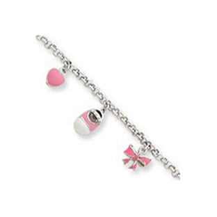 Sterling Silver Baby Heart Shoe Bow Star Charm Bracelet