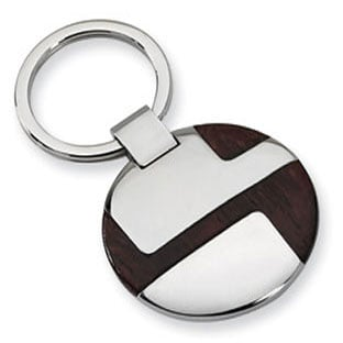 Men's Stainless Steel Wood Keychain Ring Jewelry
