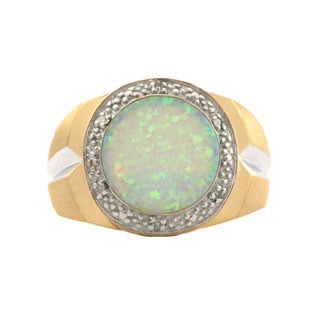 Men's Opal and Diamond Ring