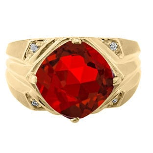 Large Diamond and Gold Men's Ruby Ring