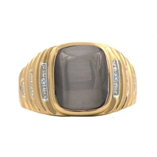 Yellow Gold and Diamond Mens Cat's Eye Ring