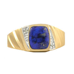 Diamond and Yellow Gold Men's Blue Lapis Ring