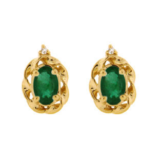 Yellow Gold Diamond Oval Emerald May Birthstone Earrings