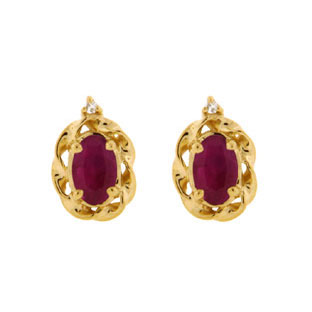 Yellow Gold Diamond Oval Ruby July Birthstone Earrings