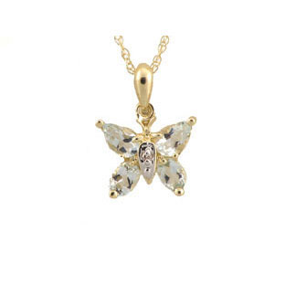 Aquamarine Diamond Gemstone Butterfly Pendant In Yellow Gold