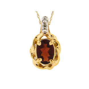 Yellow Gold Diamond Oval Garnet January Birthstone Pendant