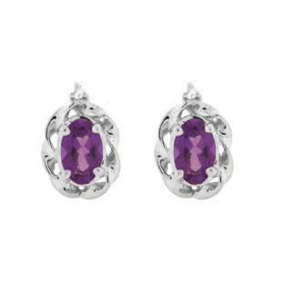 Diamond Oval Amethyst February Birthstone White Gold Earrings