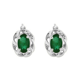 Diamond Oval Emerald May Birthstone White Gold Earrings
