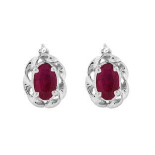 Diamond Oval Ruby July Birthstone White Gold Earrings