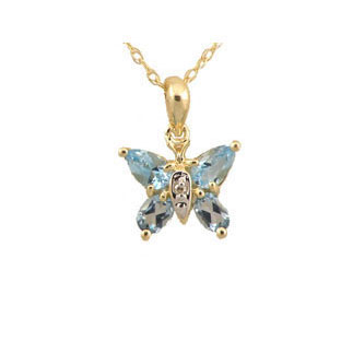 Blue Topaz Diamond Gemstone Butterfly Pendant In Yellow Gold