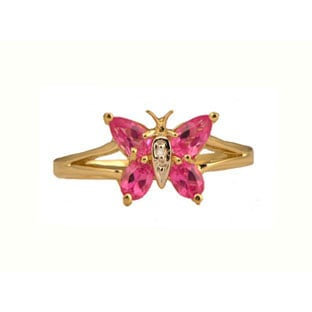 Pink Topaz Diamond Gemstone Butterfly Ring In Yellow Gold