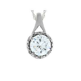 White Gold Round Cut White Topaz April Gemstone Diamond Pendant